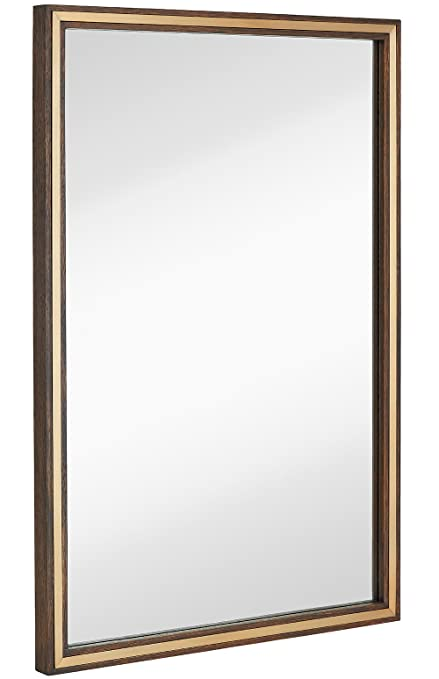 Amazon.com: Large Metal Inlaid Wood Frame Wall Mirror | Glass Panel ...