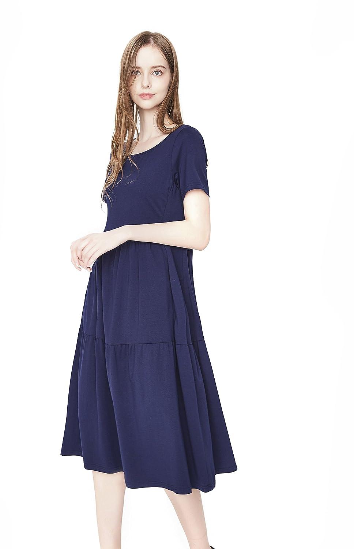 NASHALYLY Womens T-shirt dress short or 3/4 Sleeve Scoop Neck Casual Flared Midi Dress With Pockets: Amazon.co.uk: Clothing
