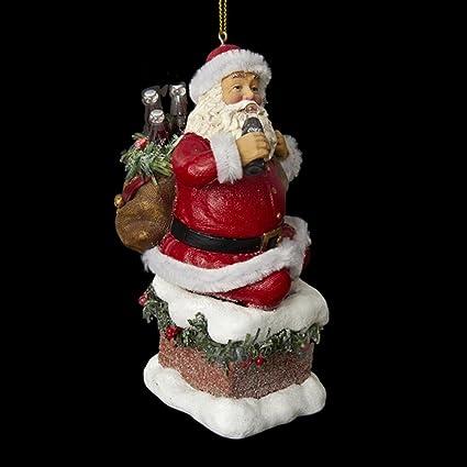 11,43 cm Santa Claus saliendo de chimenea decorativa ornamento de la Navidad