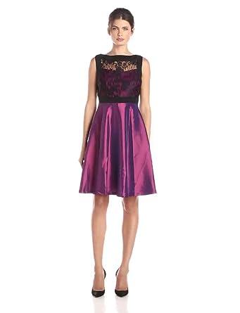 809d214647 Sangria Women s Sleeveless Illusion Yoke Lace Bodice Taffeta Skirt Fit   Flare  Dress