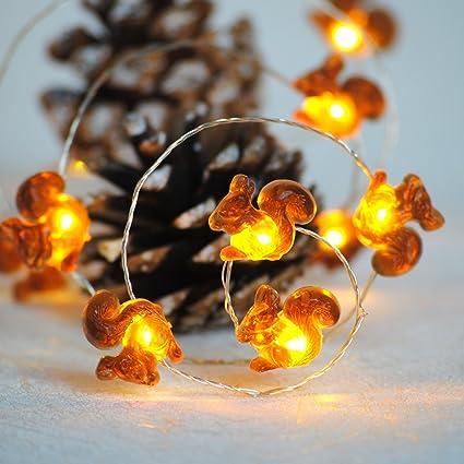 huge selection of 42f26 0cfa4 Impress Life Squirrel Decoration String Lights, Christmas Festive Chipmunk  Novelty Lights Battery-Powered 10 ft 40 LEDs with Remote for Winter ...