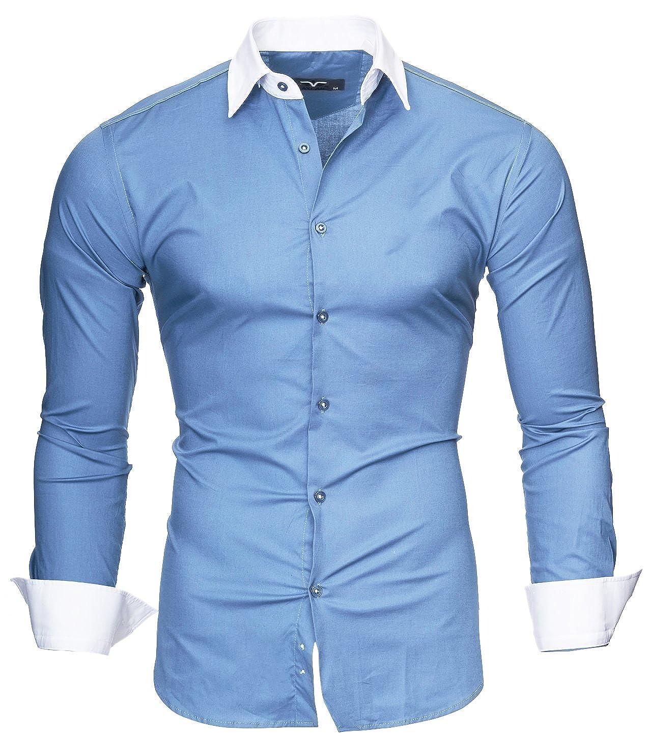 8603fa5f2ea7 Kayhan Originale Uomo Camicia Slim Fit Facile Stiro Cotone Maniche Lungo S  M L XL XXL 2XL -