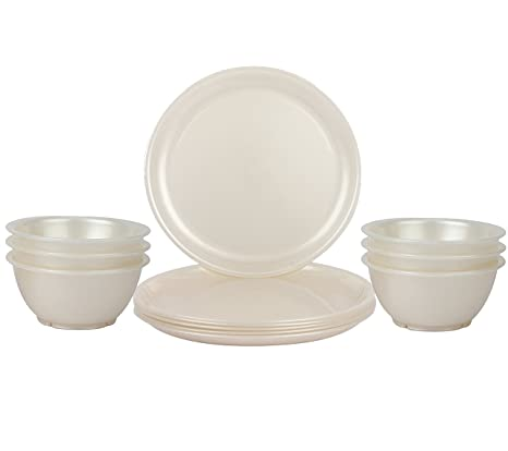 Day2Day Forever Pearl White Microwave Safe Dinner Plates  amp; Bowls Set Pack of 12