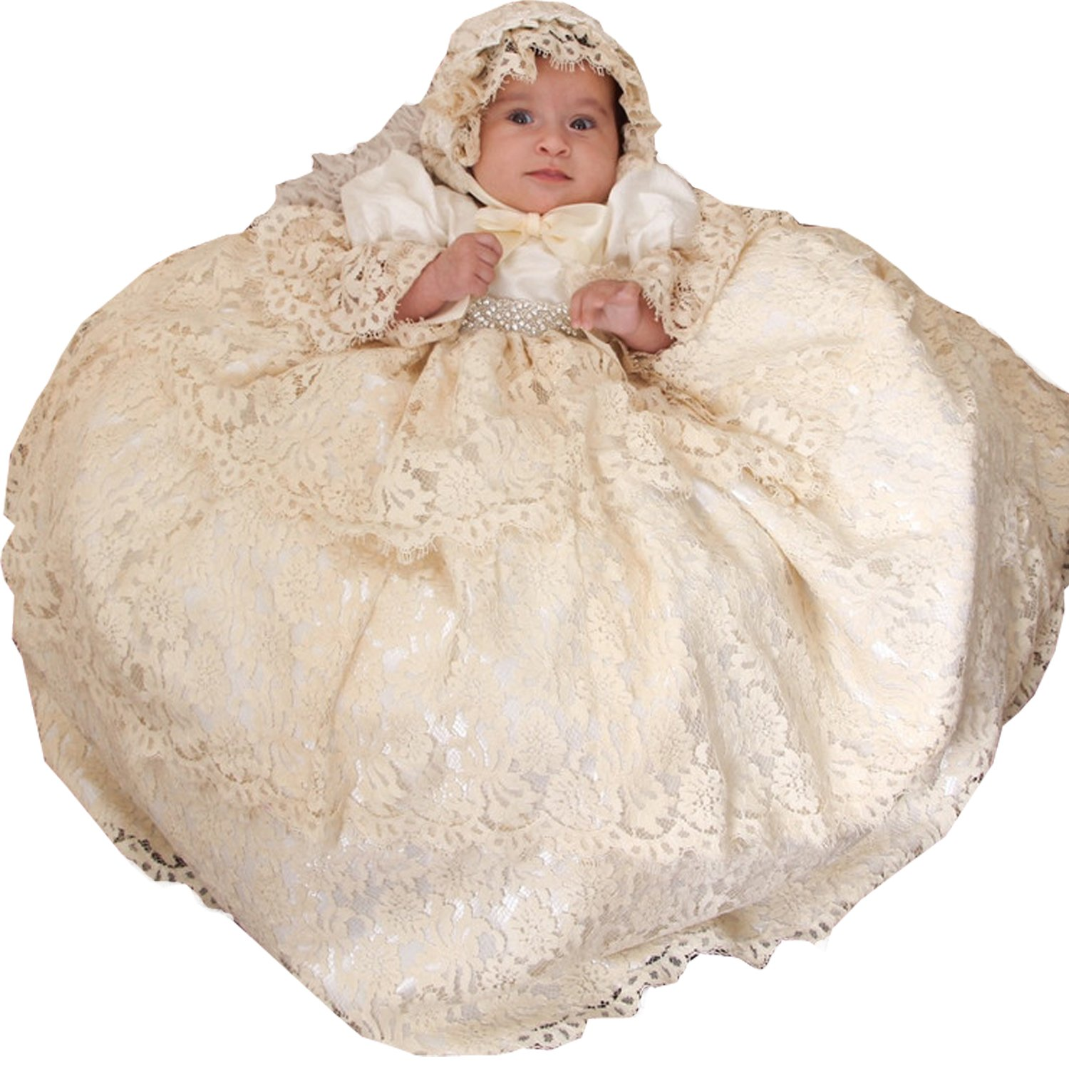 Newdeve 3 Layers Round Neck Champagne Long Baby Girl's Christening Gowns (12-18 months)