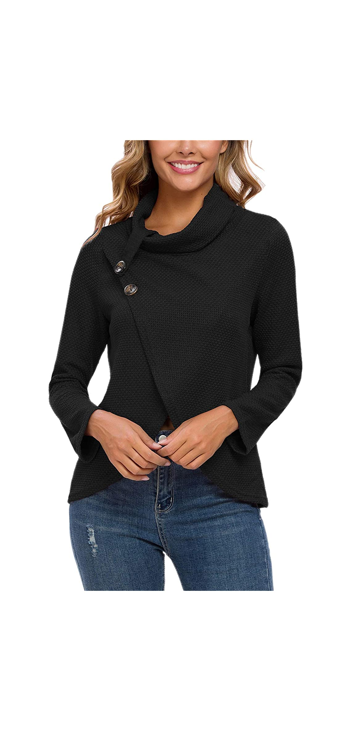 Women's Turtle Cowl Neck Long Sleeve Wrap Cable Knit