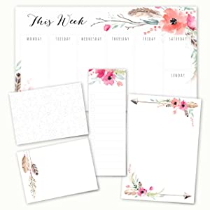 Boho Spirit Adhesive Sticky Note Pack - 5 pads - 50 sheets / pad