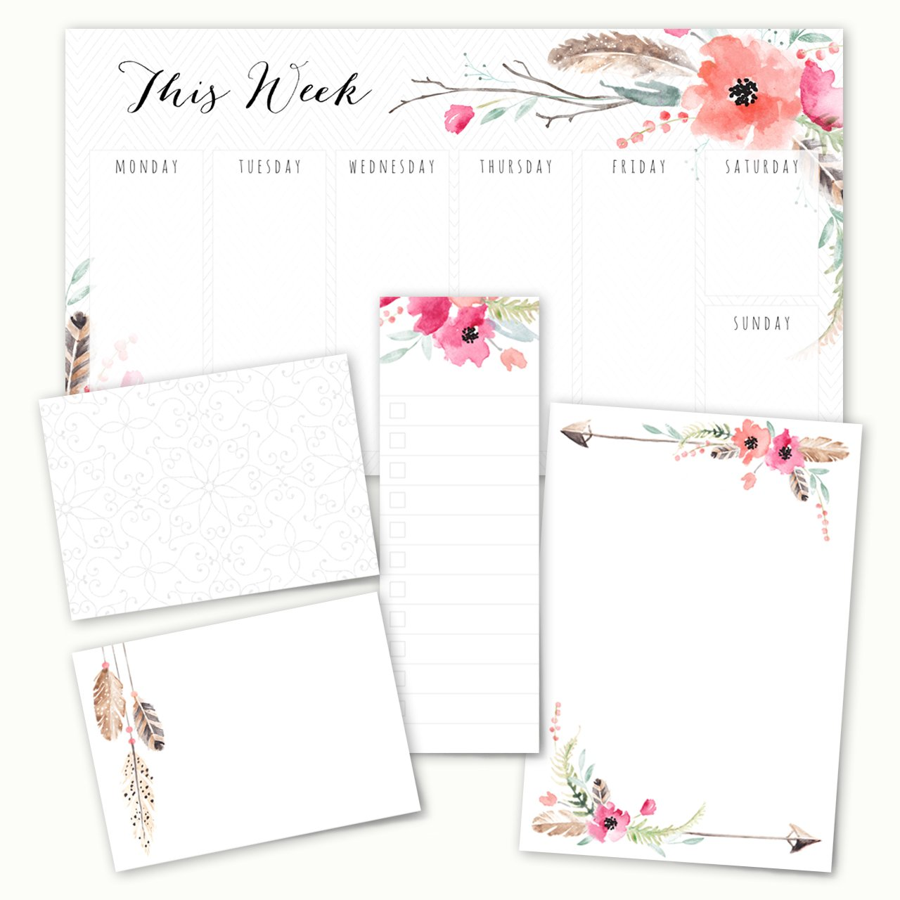 Boho Spirit Adhesive Sticky Note Pack - 5 Pads - 50 Sheets/pad by Canopy Street