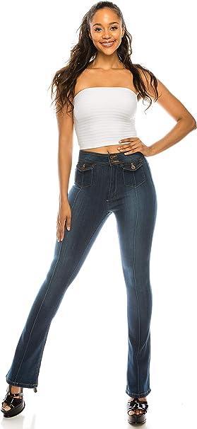 New Womens Ladies Mid Rise Dark Blue Stretch Denim Flares Bootcut Flared Jeans
