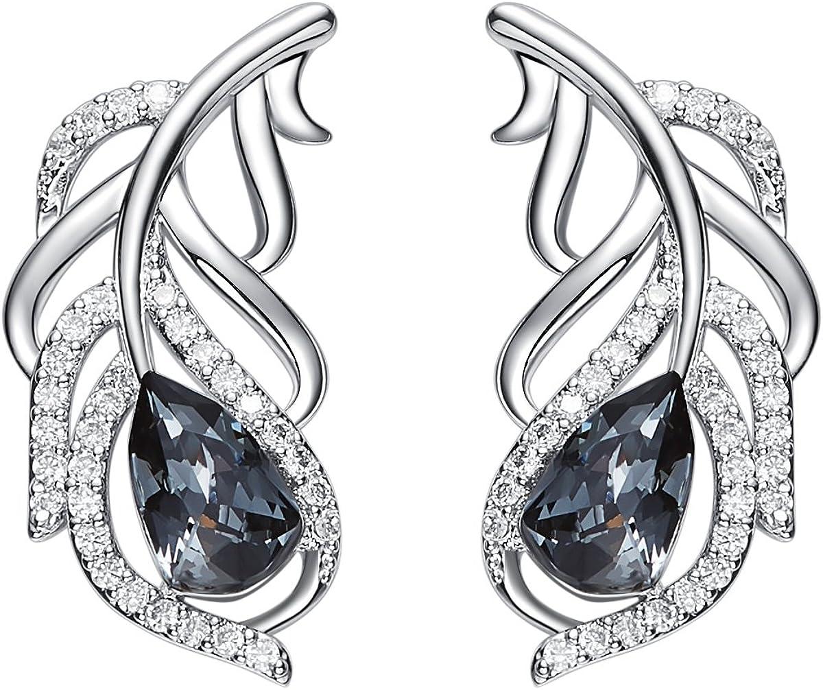 YOURDORA Pendientes de Plata de ley 925 para Mujer, Pendientes de formas de Plumas, Joyas de Ffiesta con Cristales Negros de Swarovski