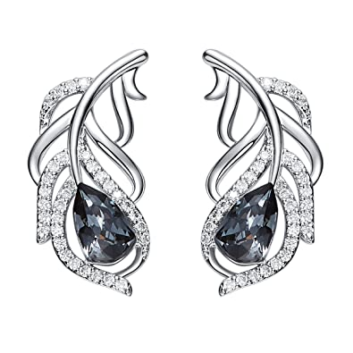 a037c5e0b Image Unavailable. Image not available for. Color: YOURDORA Ear Crawler  Earrings for Women 925 Sterling Silver Pierced Earrings Peacock Feather ...