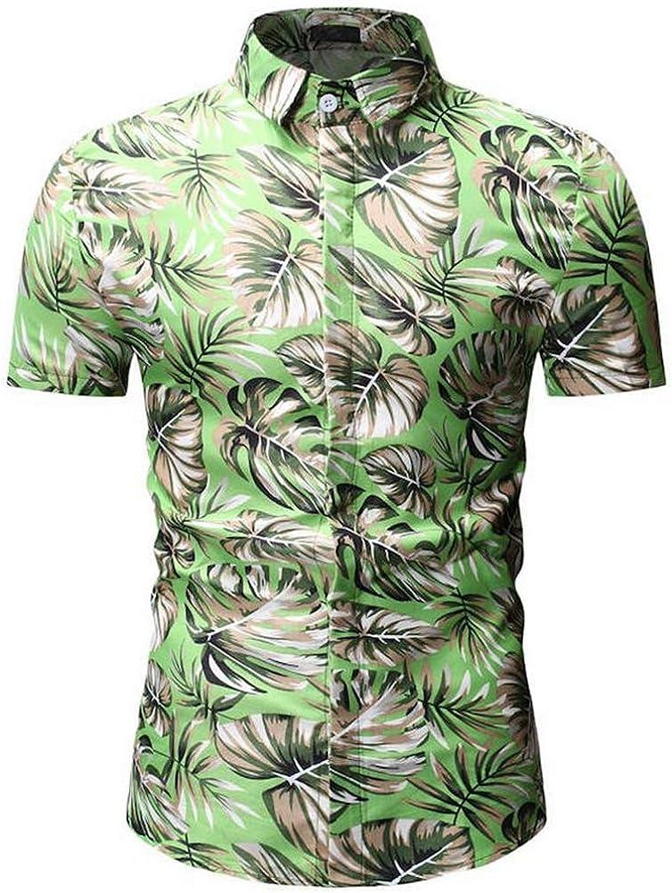YS22-green,XXXL QHF Mens Hawaiian Printed Shirt Mens Summer Beach Shirt Short Sleeve Casual
