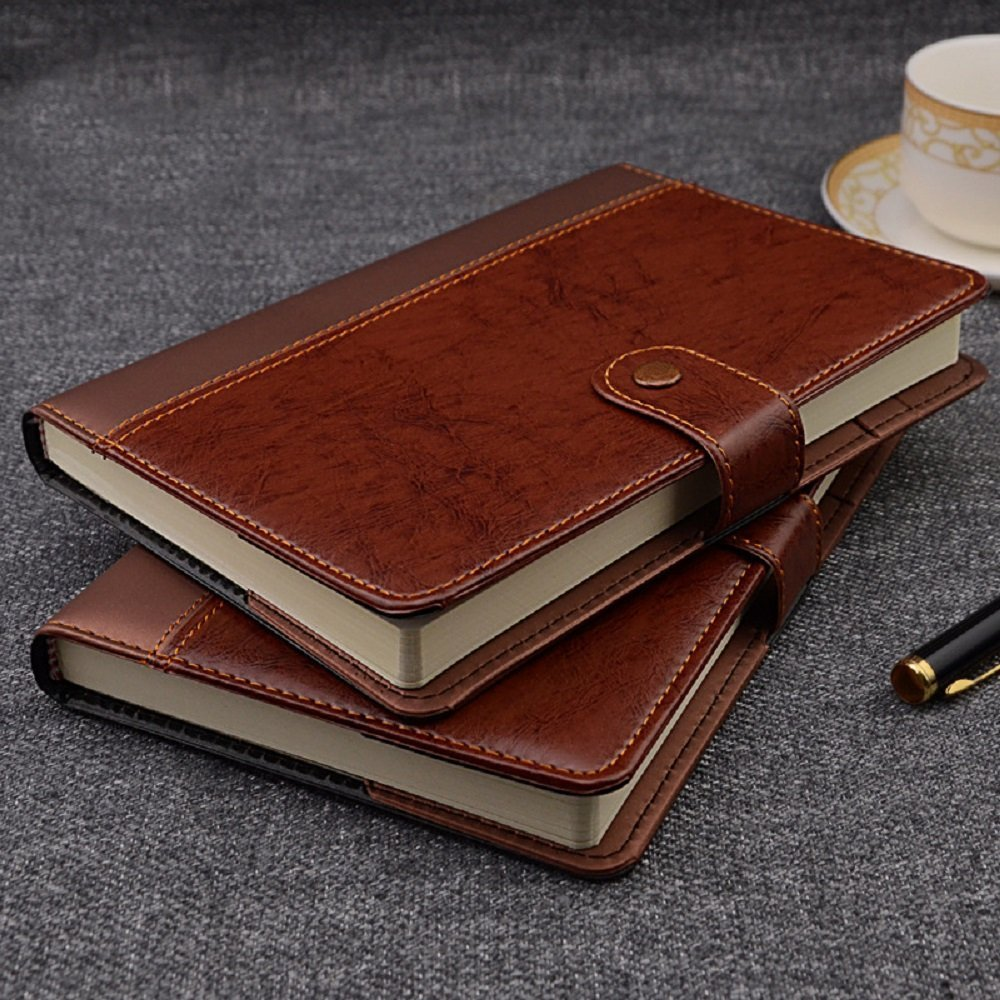 IDNY Personalized B5 Refillable Brown Classic Business Leather Writing Notebook Journal with Button & Pen Holder IDNY Designs