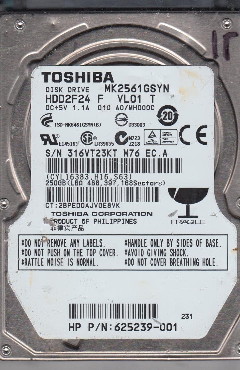 A0//MH000C Toshiba 250GB SATA 2.5 Hard Drive MK2561GSYN HDD2F24 F VL01 T