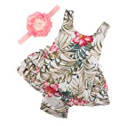 PrinceSasa Baby Girl Clothes Floral Ruffles Summer Cake Smash Romper and Headband for Newborn Gifts,A24,0-6 Months(Size S)