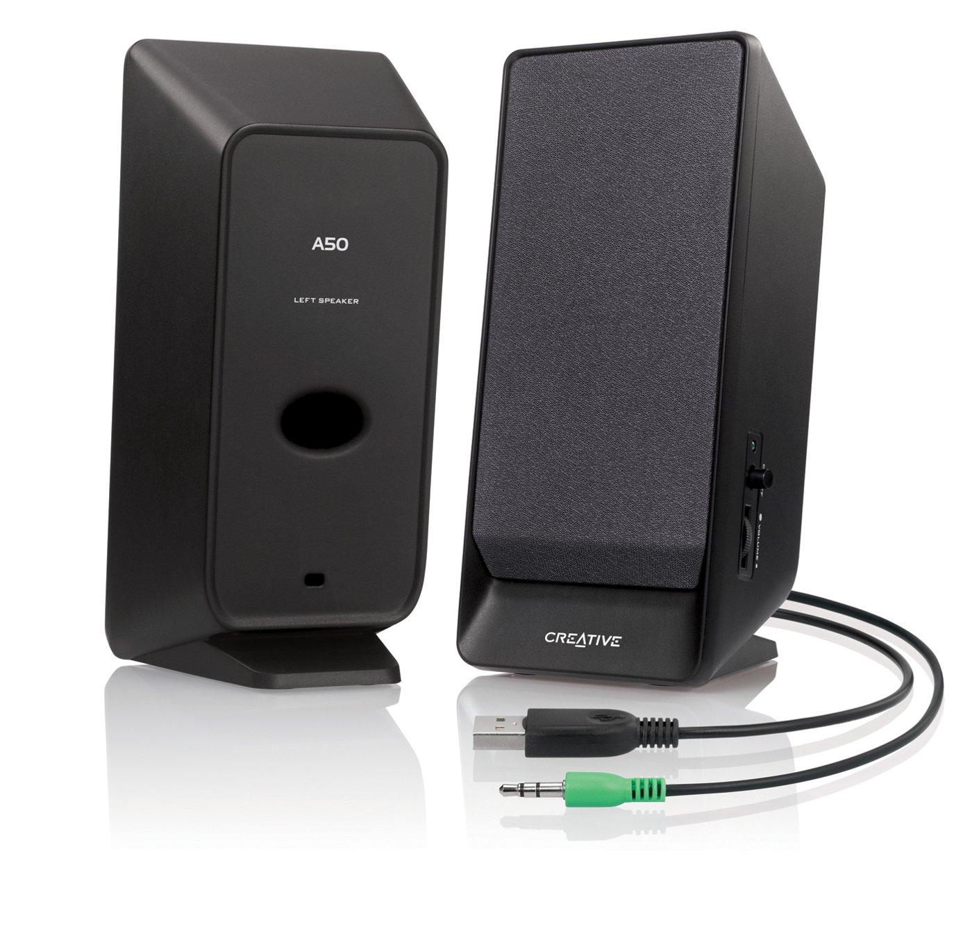 Creative A50 Sistema di Altoparlanti con Alimentazione USB 2.0, Nero FBA_51MF1675AA001