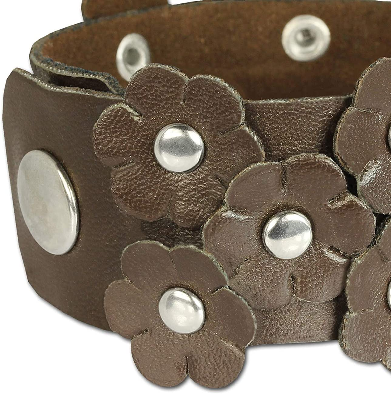 teens and girls genuine leather LA2915B SilberDream Leather bracelet brwon with rivets and flowers for female