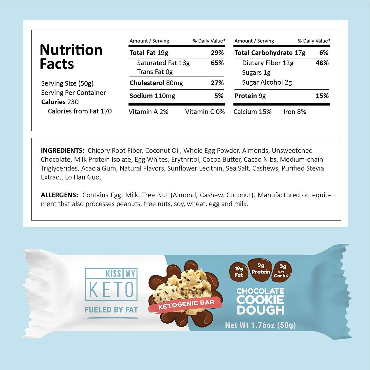 Kiss My Keto Snacks Keto Bars - Keto Chocolate Variety Pack (12) Nutritional Keto Food Bars, Paleo, Low Carb/Glycemic Keto Friendly Foods, Natural On-The-Go Snacks, Quality Fat Bars 3g Net Carbs by Kiss My Keto (Image #4)