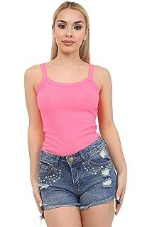 Womens HiLo Plain Camisole Sleeveless Stretchy Ladies Strappy Bodycon Mini Dress