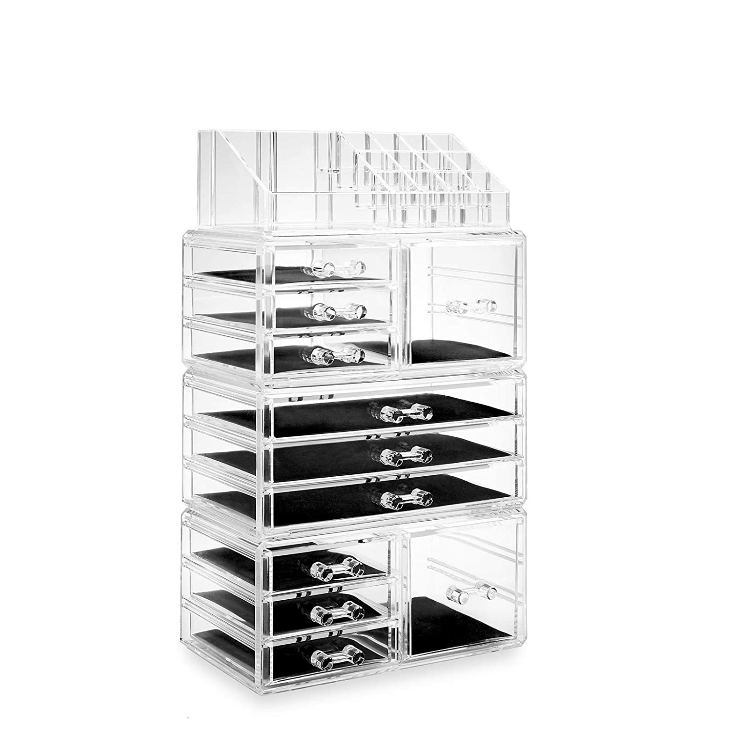 Casafield Acrylic Cosmetic Makeup Organizer & Jewelry Storage Display Case - Large 16 Slot, 2 Box & 9 Drawer Set - Clear