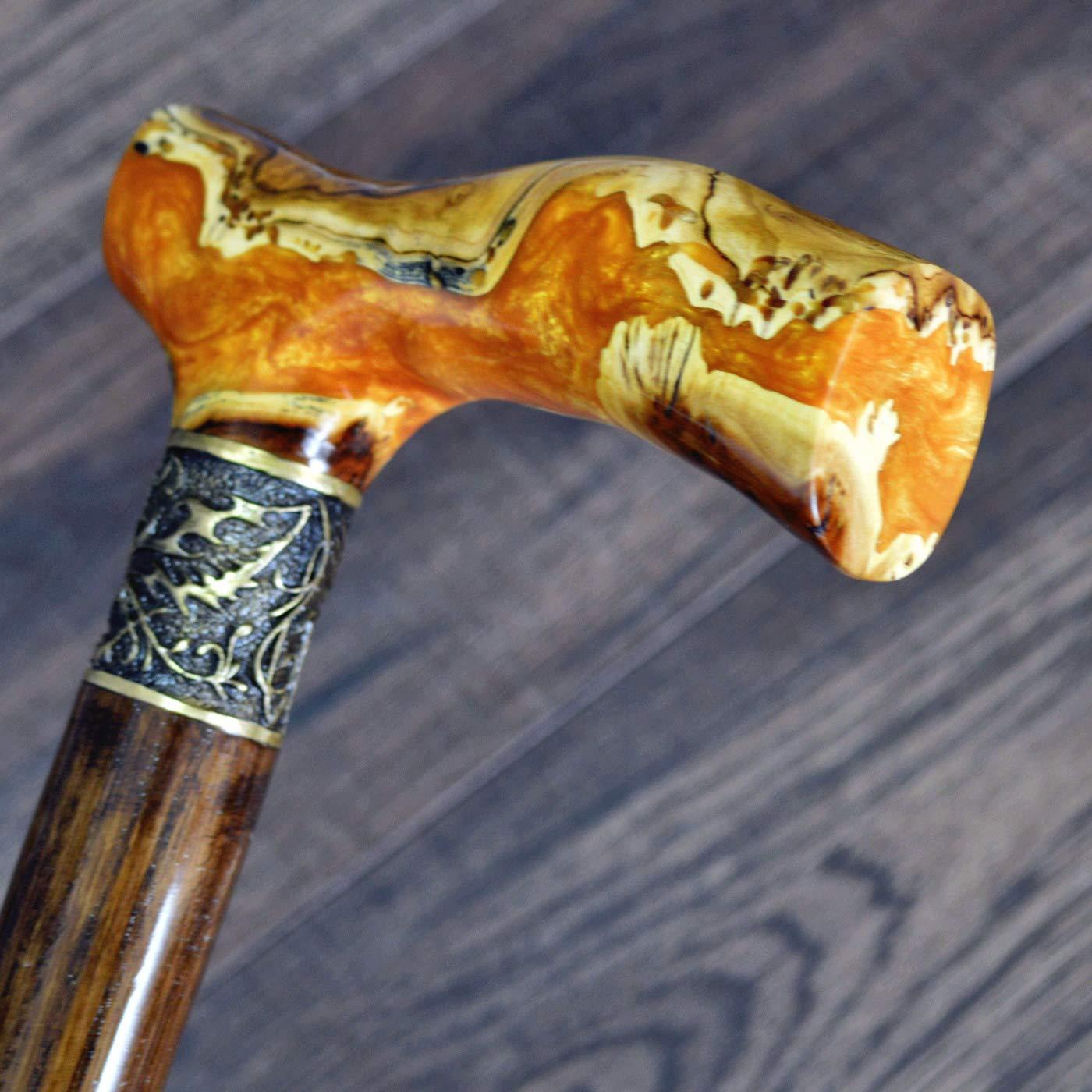 oleksandr.victory Canes Walking Sticks Wood Reeds Bronze Wooden BURL Handmade Cane Stick Men's Accessories Hybrid Orange