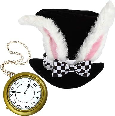 Sombrero De Conejo Blanco Accesorio De Disfraz Con Reloj De Conejo De Gran Tamaño Blanco Accesorio De Disfraz De Halloween Para Disfraz De Alicia En El País De Las Maravillas Conejo