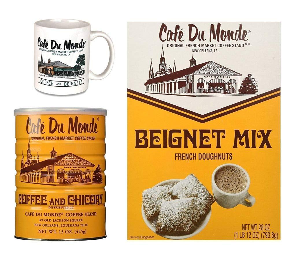 Cafe Du Monde Gift Set - Coffee, Beignet Mix, Mug - Boxed Set by Cafe Du Monde