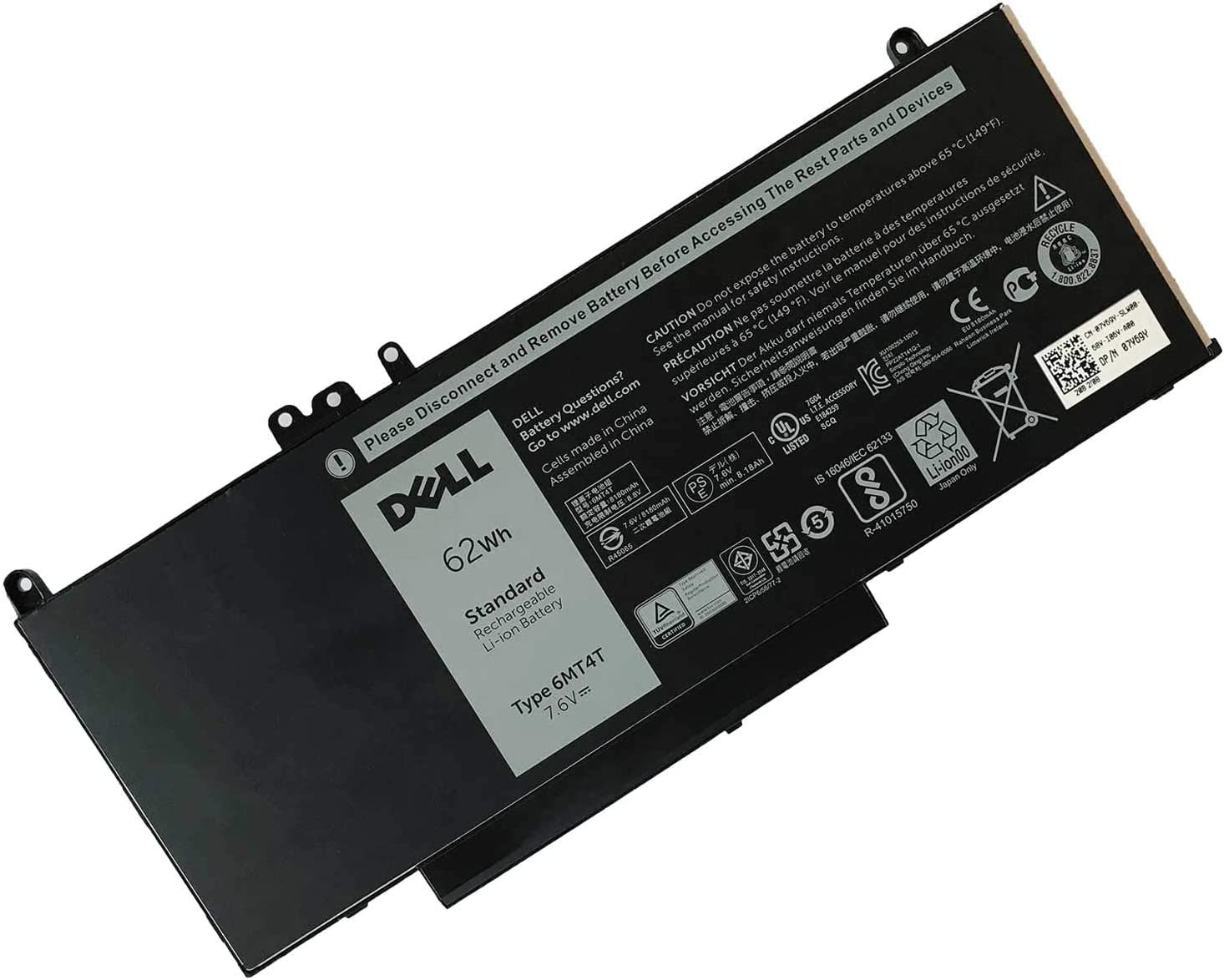 DELL 6MT4T Battery Compatible with Dell Dell Latitude E5470 Latitude E5570 Precision 3510 7.6V 62Wh Latitude E5570 E5470 7V69Y TXF9M 79VRK 07V69Y Laptop Battery