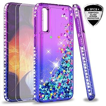 LeYi Funda Samsung Galaxy A50 Silicona Purpurina Carcasa con [2-Unidades Cristal Vidrio Templado], Transparente Cristal Bumper Gel TPU Fundas Case ...