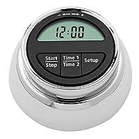 VADIV Minuteurs de Cuisine,Minuteur Aimanté Electronique Magnétique KT01 Minuteur en Acier Inoxydable Horloge Digital 2 Alarmes Programmable Ecran LCD Idéal Surveiller Cuisson