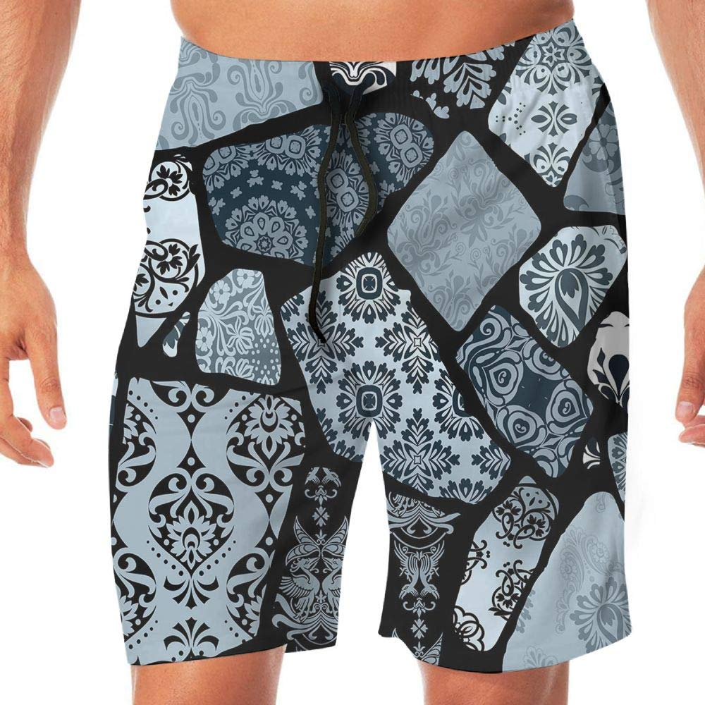 Haixia Men Summer Boardshorts Floral Modern Design Geometrical Shapes and
