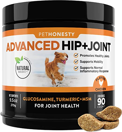 PetHonesty Advanced Hip and Joint - Dog Joint Supplement Support for Dogs with Glucosamine Chondroitin, MSM, Turmeric - Glucosamine for Dogs Soft Chews - Pet Joint Pain Relief - 90 c