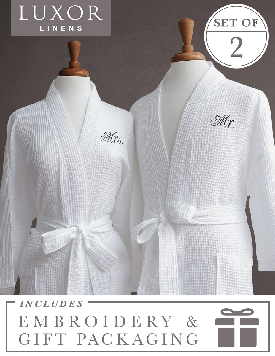 Luxor Linens Waffle Weave Spa Bathrobe - Ciragan Collection - Luxurious, Super Soft, Plush & Lightweight - 100% Egyptian Cotton, Made in Turkey (Mr./Mrs. With Gift Packaging)