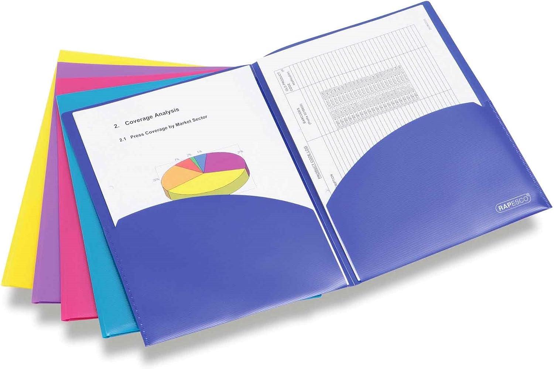 Rapesco Documentos - Carpeta portafolios A4 con doble bolsillo en colores variados, 5 unidades