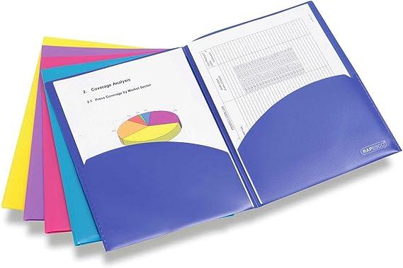 Rapesco Documentos - Carpeta portafolios A4 con doble bolsillo en colores variados, 5 unidades: Amazon.es: Oficina y papelería