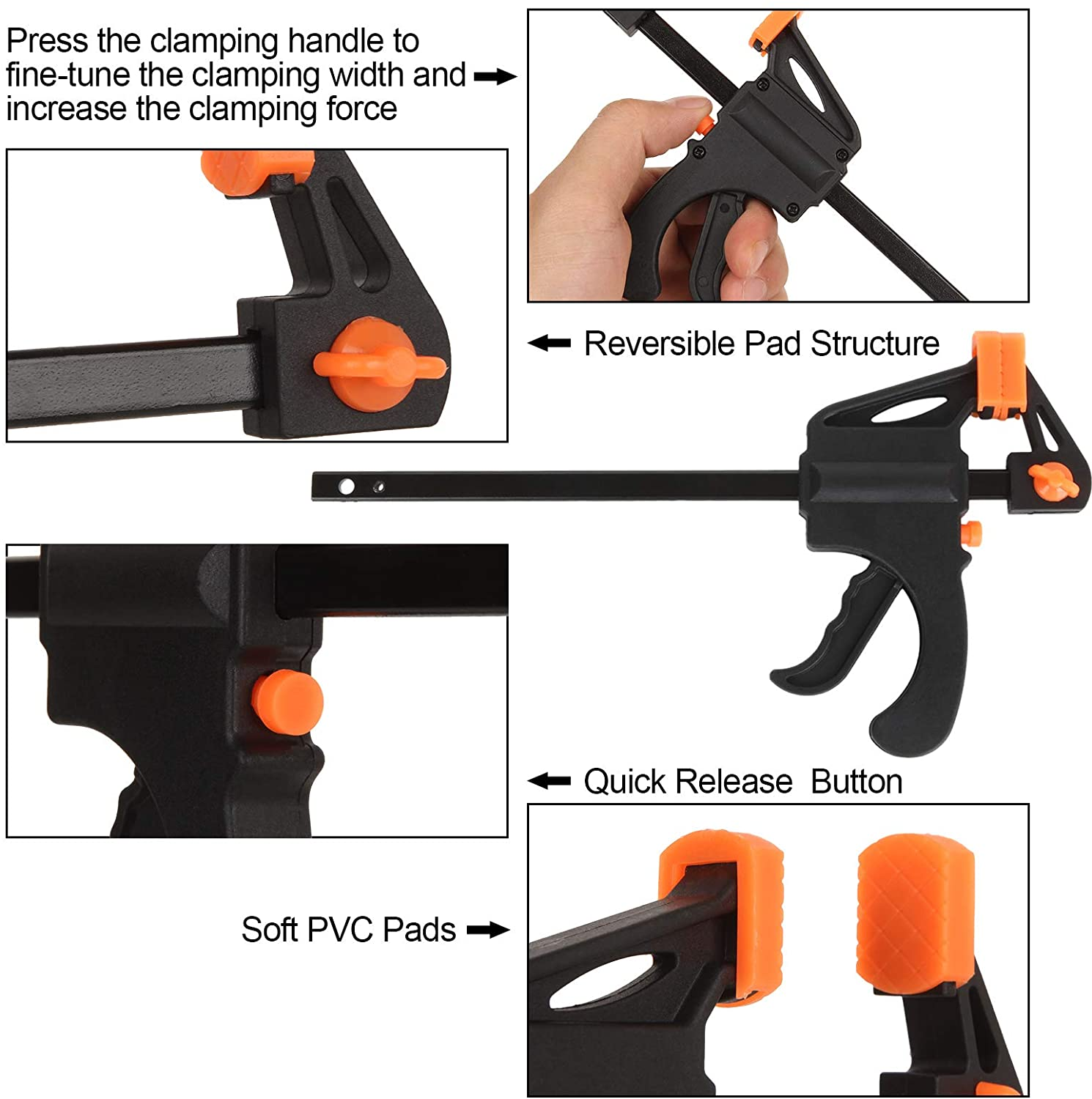 8 Pack Quick Grip Clamps Light-Duty F Clamp for Woodworking LISHINE 4 Inch Bar Clamps One Handed F Ratchet Bar Clamp and E-Z Hold Clamps