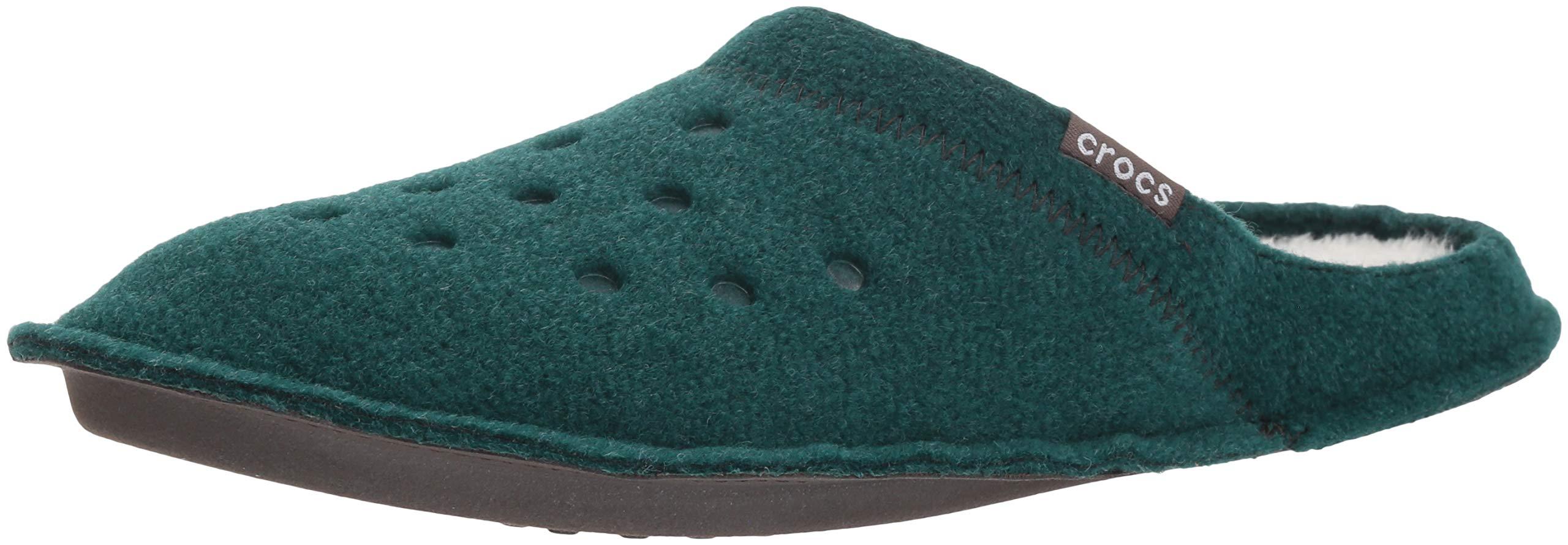 Crocs Classic Slipper, Evergreen/Stucco, 13 US Men / 15 US Women