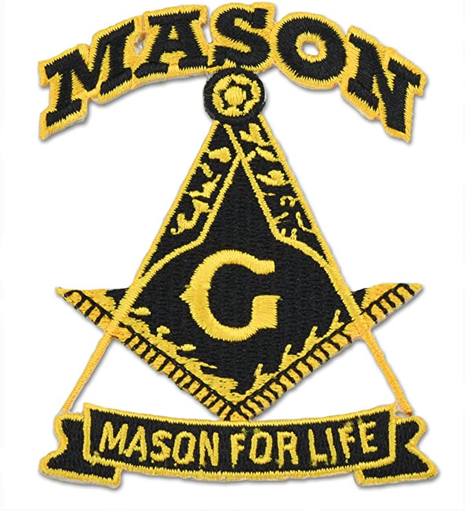 """1-1//4/"""" x 4-1//2/"""" Masonic Mason Word silver with Gold Square and Compass Patch"""