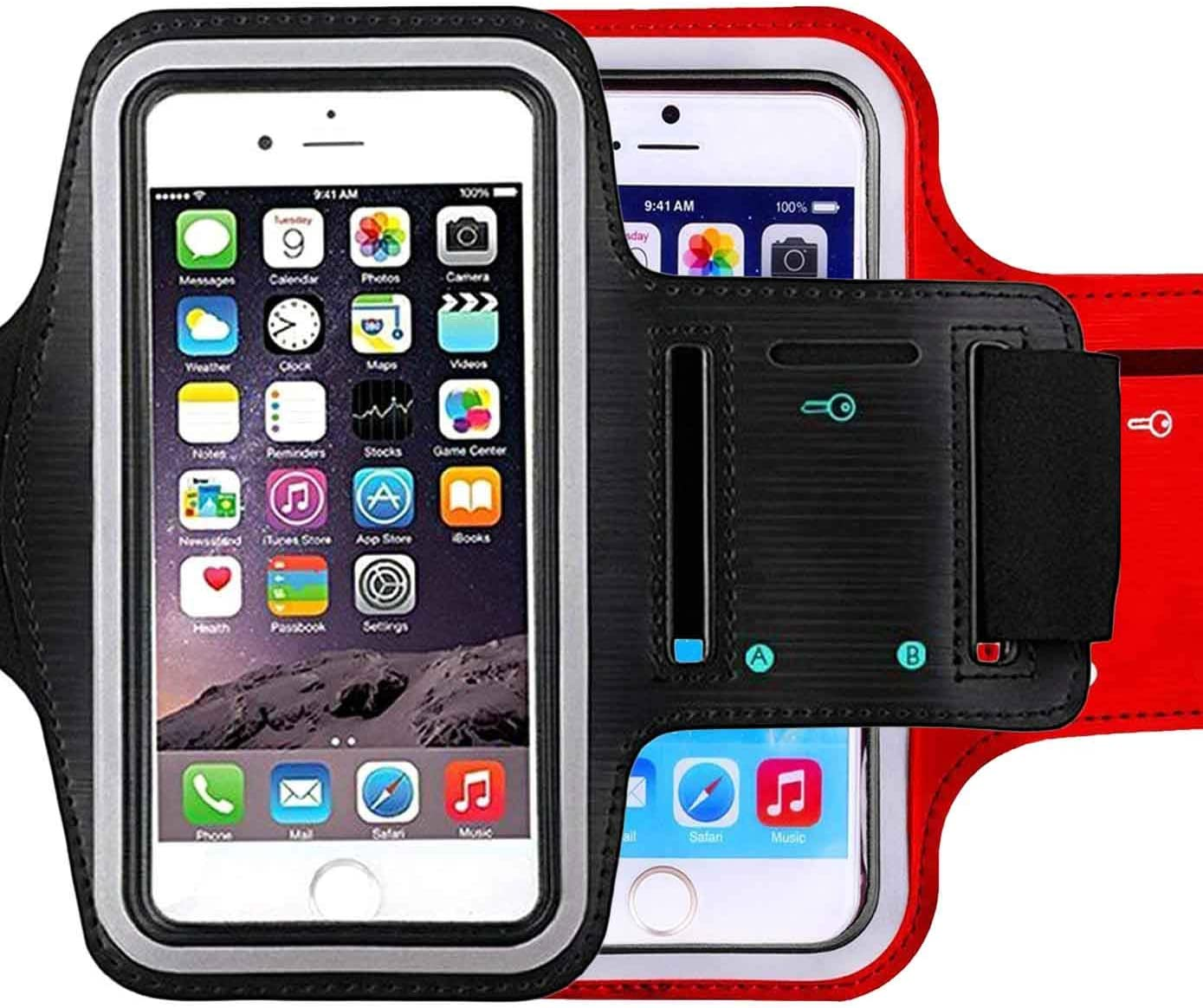 [2pack] Running Armband,iBarbe for iPhone X/8 Plus/8/7 Plus/7/6S Plus/6S/6/5S/SE,Sports Workout Cell Phone Holder for Samsung Galaxy S8/S7 Edge/S6, Google Pixel/Nexus 6P, LG and More (Black+red)
