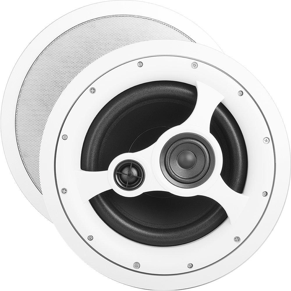 OSD ICE1080HD 10'' In-Ceiling/In-Wall Speaker 150W w/Injected Composite Paper Cone Woofer and Ferrofluid Cooled Silk Dome Tweeter and Midrange (Off-White, Single)