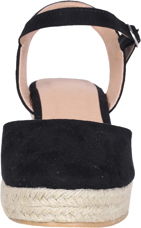 Ermonn Womens Espadrille Platform Wedge Sandals Open Toe Buckle Ankle Strap High Heel Summer Shoes