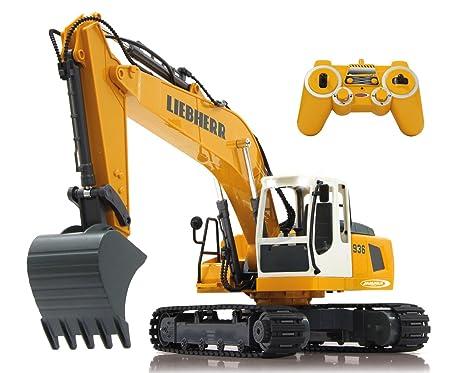 Jamara 405060 Bagger Liebherr R936 120 24g Realistische Funktionen Entladen Aufladen Jedes Gelenk Einzeln Steuerbar 660 Turmdrehung