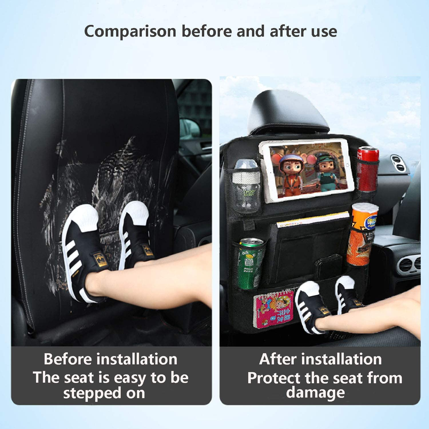 Momoco Car Back Seat Organiser,Seat Back Protectors,Waterproof Kick Mats with Car Tablet Holder and Multi Pockets /& 1 Car Cleaning Towel,for Anti-Kick and Storage in The Rear Seat of A Car(2 Packs)
