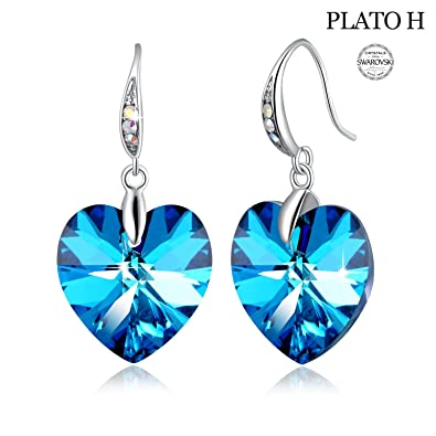 43d3b5cee Swarovski Element Earrings Heart Earrings Color Changing Crystals Forever  Love Drop Dangle Earrings for Girl,