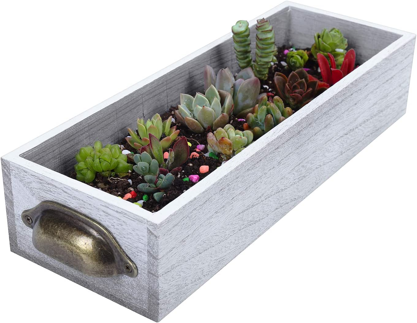 "Soligt Extra Thick Wood Planter Box with Rustic Handles and Plastic Liner for Indoor Window & Home Decoration, 13.98""X 5.12"" X 2.99"", Farmhouse Style"