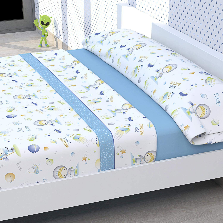 Tolrá Juego de sábanas Infantil Modelo Astronauta (Azul, 90cms ...