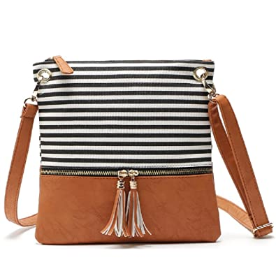c06bf1f18e08 Image Unavailable. Image not available for. Color  Women Stripe Medium  Crossbody Purse Double Zipper Tassel Messenger Shoulder Bag