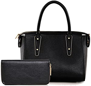 Amarte Women's Casual Leather Handbag 2 Pcs Crossbody Bag Purse Set Black