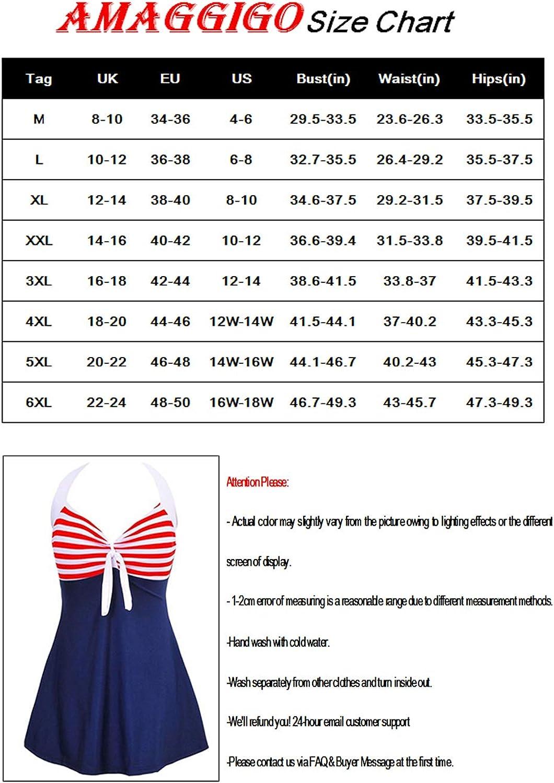 AMAGGIGO Damen Neckholder Push up BadekleidFigurformender Bunt Badeanzug mit R/öckchen Bauchweg Einteiliger Badekleid