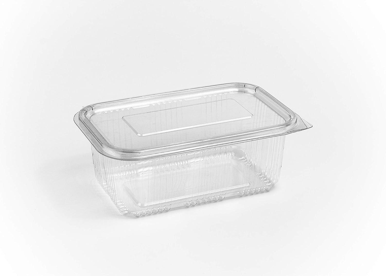 Paquete de 80 recipientes de 1000 ml para ensalada, con bisagras redondas, para comida rápida, desechables, transparentes, tapas de plástico, para almacenamiento.