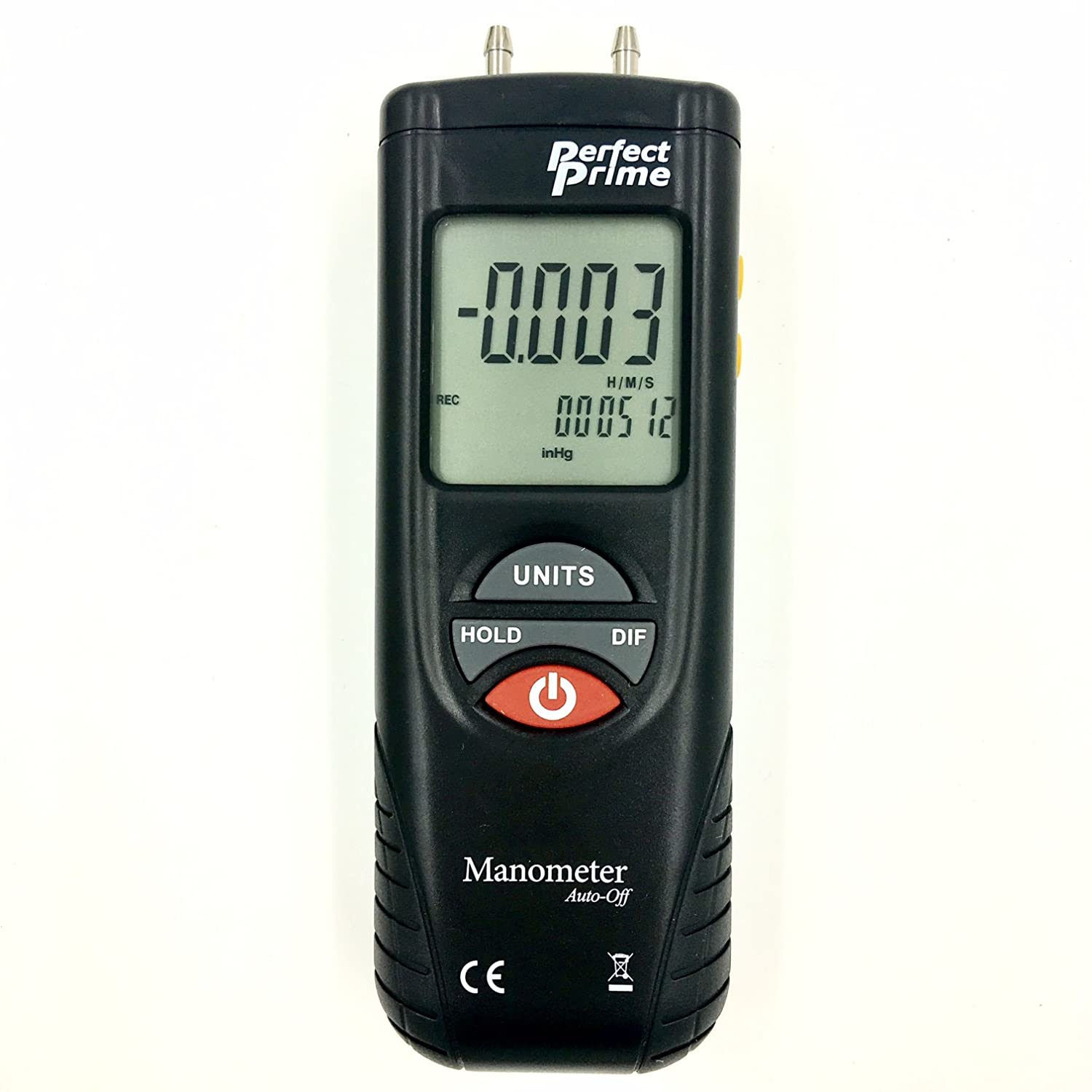Perfect-Prime AR1890P1, Digital Air Pressure Manometer to Measure Gauge & Differential Pressure ±13.79kPa / ±2 psi / ±55.4 H2O with 304 Stainless Steel Static Tube 5.13' x 2.34' Length